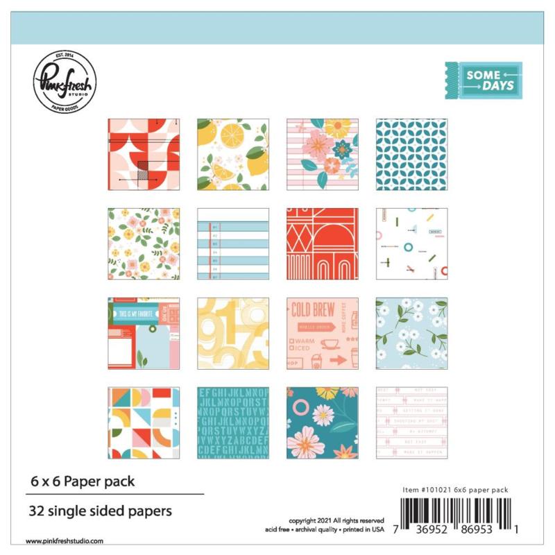 "PinkFresh Studio Single-Sided Paper Pack 6""X6"" 32/Pkg Some Days, 16 Designs/2 Each"