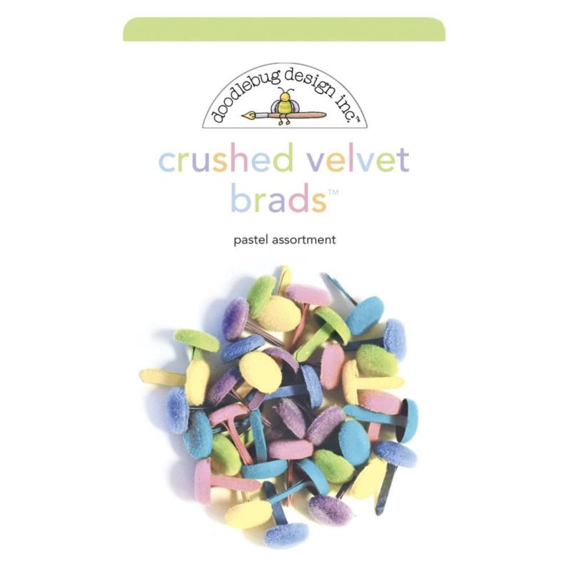 Doodlebug Crushed Velvet Brads Pastel Assortment