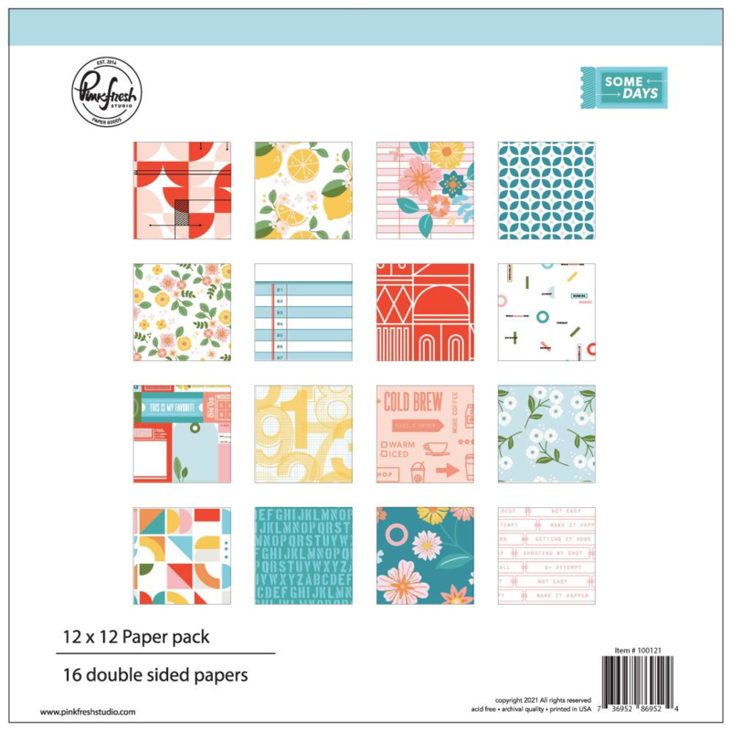 """PinkFresh Studio Double-Sided Paper Pack 12""""X12"""" 16/Pkg Some Days, 8 Designs/2 Each"""