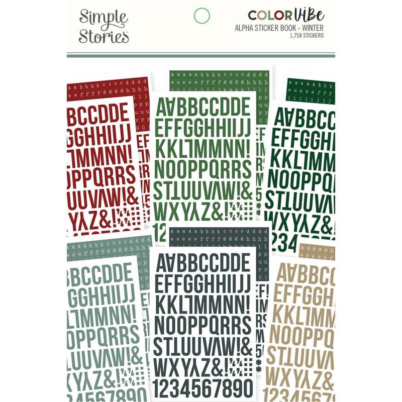 Simple Stories Color Vibe Alpha Sticker Book 12/Sheets Winter, 1758/Pkg