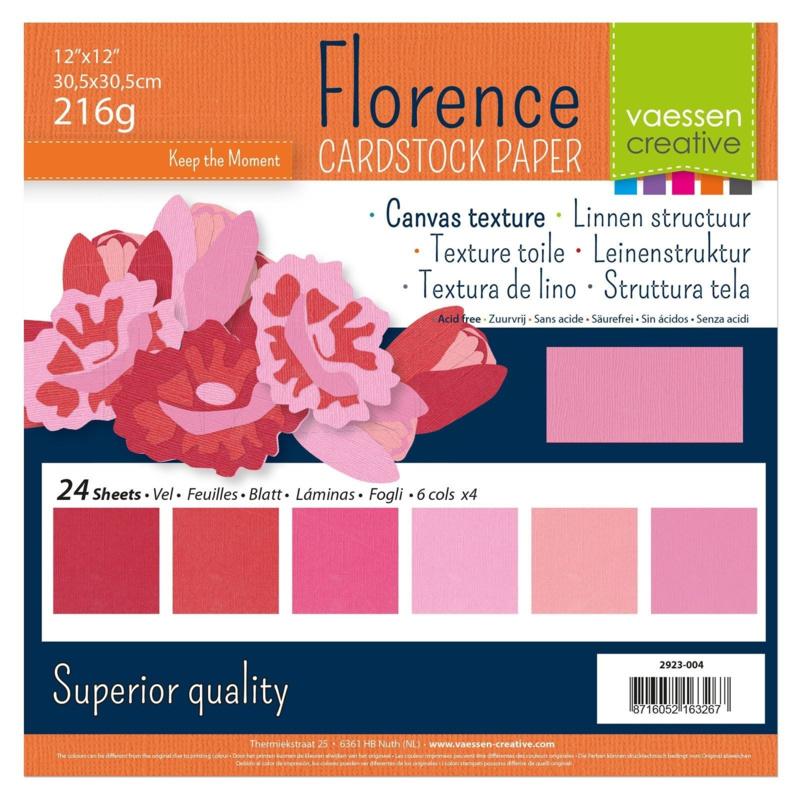 Florence • Cardstock multipack 30,5x30,5cm Roze