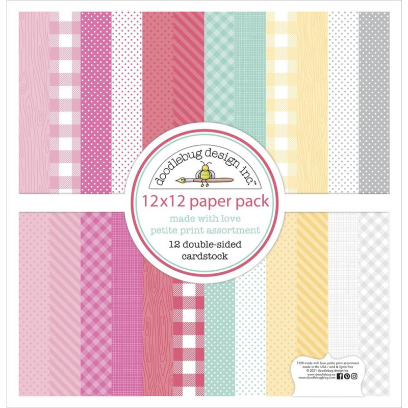 """Doodlebug Petite Prints Double-Sided Cardstock 12""""X12"""" 12/Pk Made With Love, 12 Designs/1 Each"""