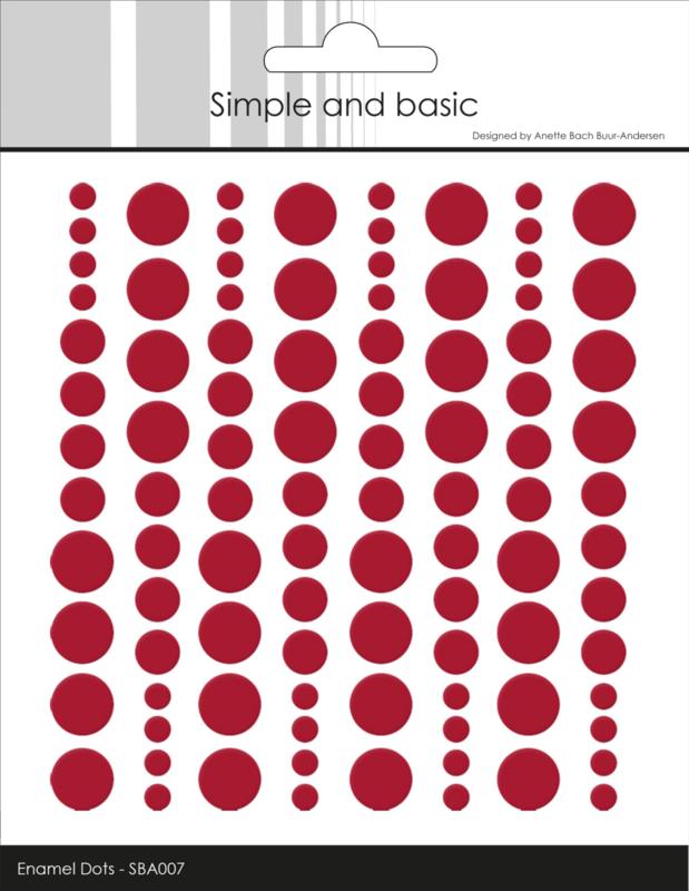 Simple and Basic Adhesive Enamel Dots Chili Red (96pcs)