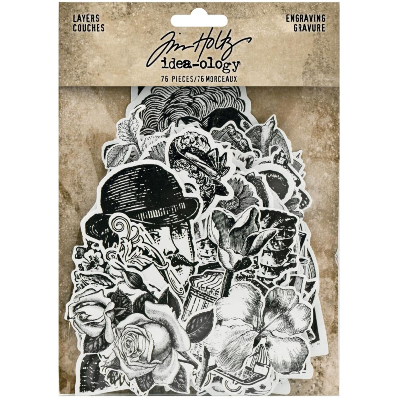 Tim Holtz Cling Idea-Ology Layers Die-Cuts 76/Pkg Engraving