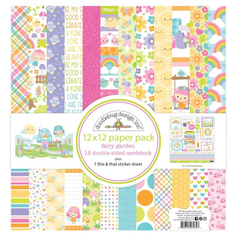 """Doodlebug Double-Sided Paper Pack 12""""X12"""" 12/Pkg Fairy Garden"""