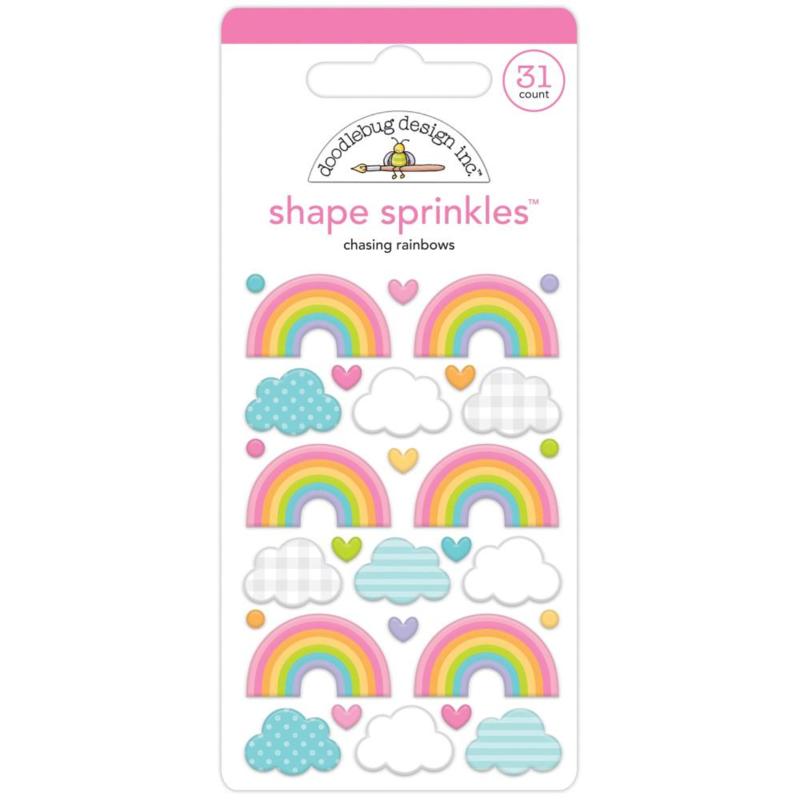 Doodlebug Sprinkles Adhesive Enamel Shapes Chasing Rainbows
