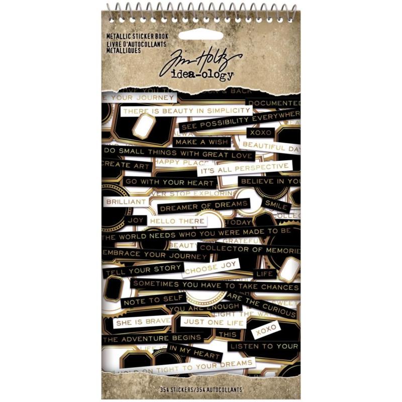 """Tim Holtz Idea-Ology Spiral Bound Sticker Book 4.5""""X8.5"""" Metallic"""