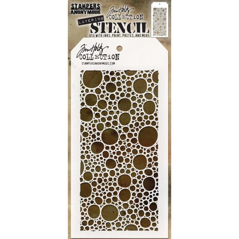 "Tim Holtz Layered Stencil 4.125""X8.5"" Bubbles -Layered"