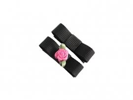Babyhaarspeldje met lint zwart met fuchsia roosje