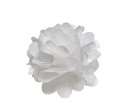 Haarbloem satijn/tule wit