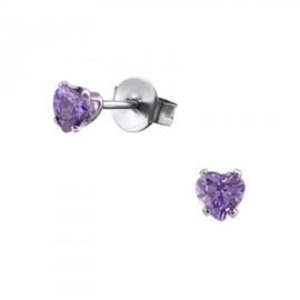 Oorbellen Chirurgisch staal Hartje kristal paars 4mm