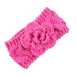 Haarbandjes gebreid bloem roze