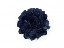 Haarbloem satijn/tule donkerblauw