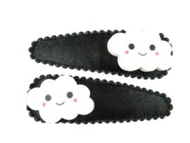 Haarspeldjes zwart satijn met wolkjes