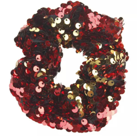 Haarelastiekjes pailletten scrunchie rood/goud