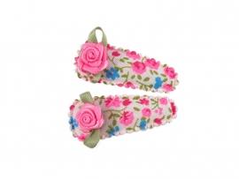 Babyhaarspeldjes felroze met blauwe bloem en fuchsia roosje