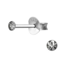 Oorbellen Sterling zilver 925 Rond knopje black diamond 2,5mm