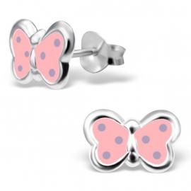 Kinderoorbellen Sterling zilver 925 Roze vlinder met paarse stip