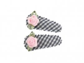 Babyhaarspeldjes grijs geruit met roze roosje