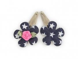 Babyhaarspeldjes donkerblauwe bloem met ster