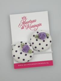 Stofknoop paars gestipt met paars roosje