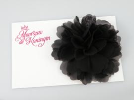 Haarbloem chiffon groot zwart