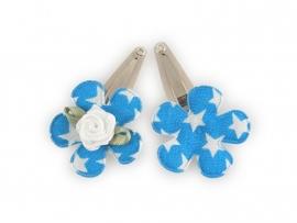 Babyhaarspeldjes blauwe bloem met ster