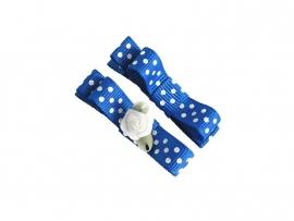 Lokknipje met lint kobaltblauw gestipt met wit roosje