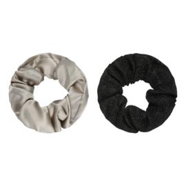 Haarelastiekjes scrunchie beige/zwart