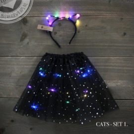 Set diadeem/tutu Cats - Black