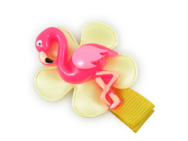 Lokknipje met bloem geel met flamingo
