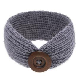 Haarbandjes gebreid knoop grijs