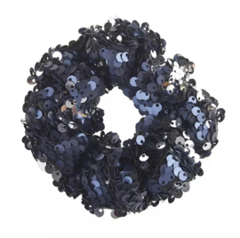 Haarelastiekjes pailletten scrunchie blauw/zwart
