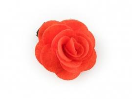 Haarbloem vilten roos oranje