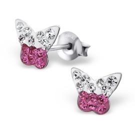 Kinderoorbellen Sterling zilver 925 Vlinder kristal roze