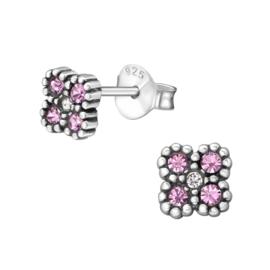 Oorbellen Sterling zilver 925 Bloem roze kristal