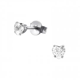 Oorbellen Chirurgisch staal Hartje kristal 4mm