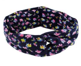 Haarband knoop zwart met bloem