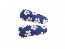 Babyhaarspeldjes blauw met witte bloemen
