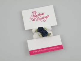 Haarelastiekjes badstof wit met donkerblauw roosje