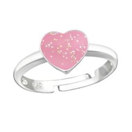 Kinderring sterling zilver 925 Hartje roze glitter
