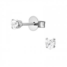 Oorbellen Chirurgisch staal Hartje kristal 3mm