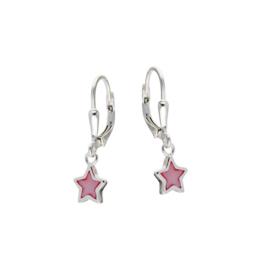 Kinderoorbellen Sterling zilver 925 Brisuresluiting Roze ster