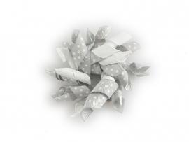 Gekruld lint wit/grijs gestipt