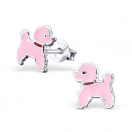 Kinderoorbellen Sterling zilver 925 Roze poedels