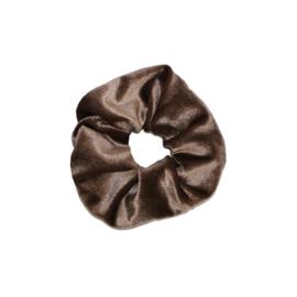 Haarelastiekjes velvet scrunchie bruin