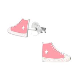 Kinderoorbellen Sterling zilver 925 Gymp roze glitter
