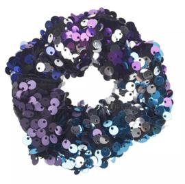 Haarelastiekjes pailletten scrunchie paars/blauw/groen
