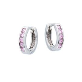 Kinderoorbellen Sterling zilver 925 Klapcreool Zirkonia roze
