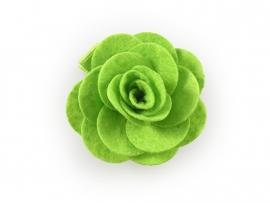 Haarbloem vilten roos groen
